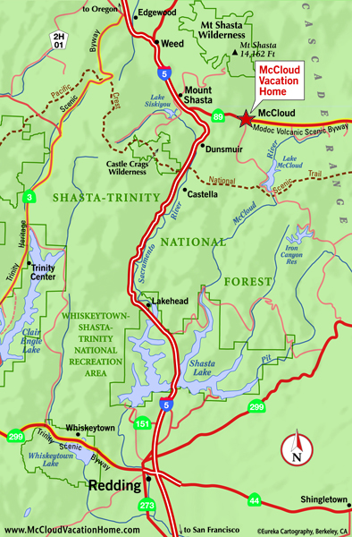 Area Maps  The McCloud Vacation Rental Home On Mt Shasta
